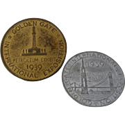 1939 Golden Gate Expo San Francisco Two Coins Tokens