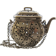 Sterling Repousse Teapot Strainer Infuser Prunus Blossoms