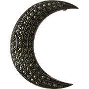 Sterling Silver Marcasites Crescent Moon Pin Signed Judith Jack