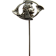 Ca 1900 Sterling Egyptian Revival Woman Trumpet Flowers Stick Pin