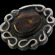 Vintage Navajo Sterling Fire Agate Pendant