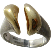 Modernist Scandinavian Sterling w/ Gold Wash Ring Signed Sz 6 1/2