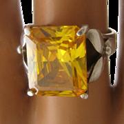 Vintage Sterling Cocktail Ring Asscher Cut Citrine CZ Trilliums Sz 7 1/2
