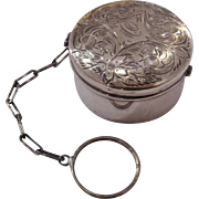 Ca 1900 Sterling Powder Rouge Box Chatelaine Finger Ring