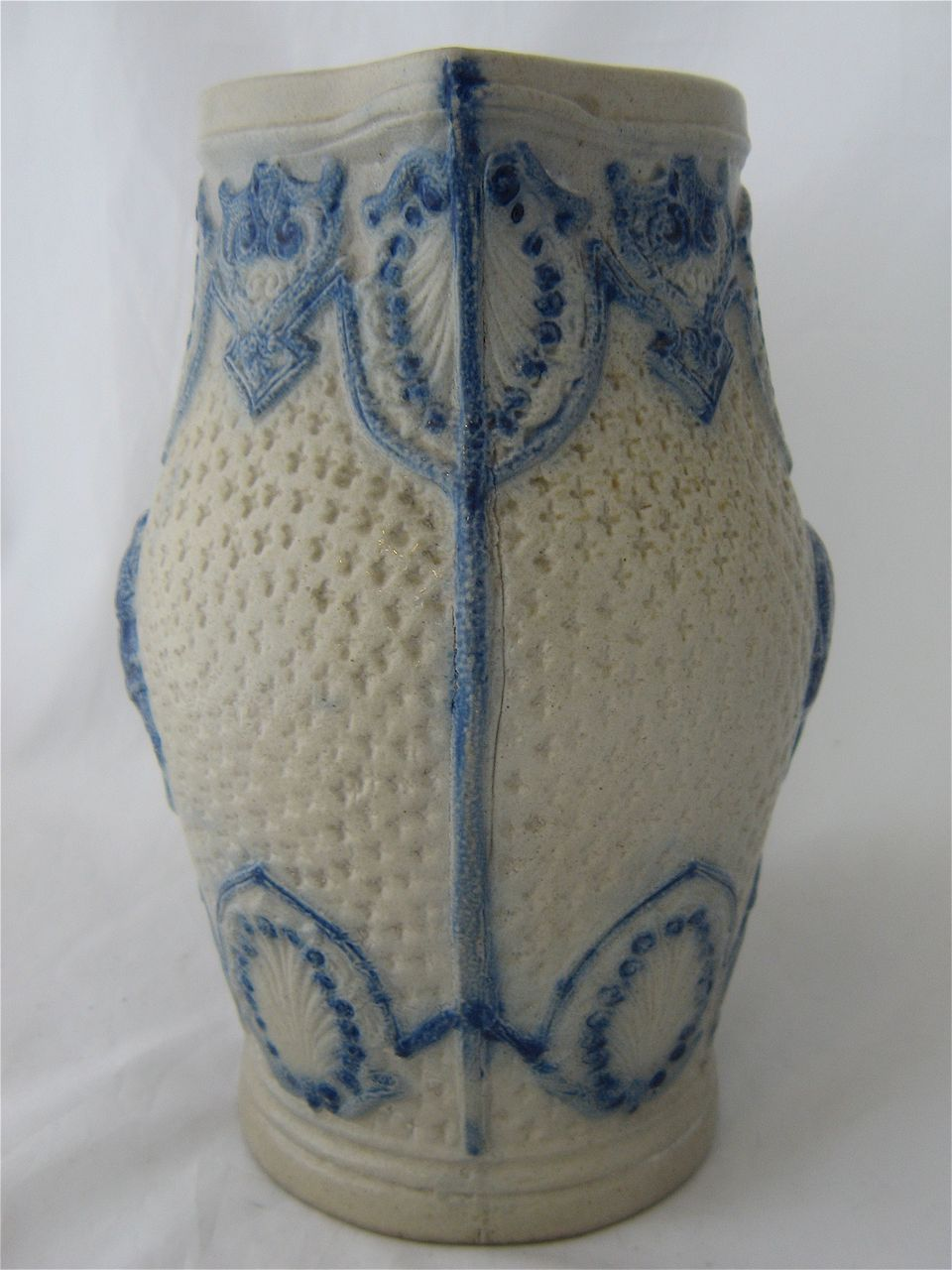 Ca 1900 salt fired stoneware pitcher cobalt decoration for 66 st georges terrace post office
