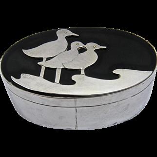 Studio Artist Sterling Oval Box w/ Sanderlings on Black Lucite Lid Ca 1970s