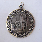 Mid 1900s Sterling Pendant Santa Prisca Church Taxco Mexico