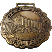 Ca 1920s San Gabriel Mission California Brass Watch Fob Commemorative