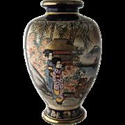 "Early 1900s Satsuma Hand Painted Gilded Cobalt Vase Geisha 8 1/2"""