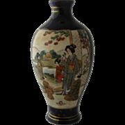 "Ca 1920 Satsuma Hand Painted Gilded Cobalt Vase Geisha 5 7/8"""