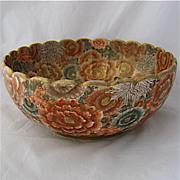 Meiji Period Japanese Satsuma Gilt Enameled Large Bowl