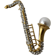 Vintage Sparkling Saxophone Pin w/ Rhinestones & Faux Pearl