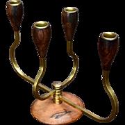 Mid Century Scandinavian Teak Wood Brass Candelabra 4-arm