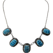 Vintage Egyptian Revival Turquoise Faience Scarab Silver Bib Necklace 17""