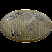 1920s Brass Tin Scovill Oval Tin Box Art Deco Lady & Lovebirds