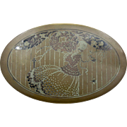 1920s Brass Tin Scovill Oval Tin Box Art Deco Lady & Lovebirds