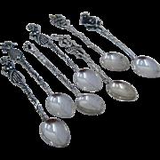 Set 7 Tropical Theme 900 Silver Demitasse Spoons Brazil