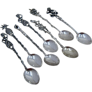 Set 7 Tropical Theme 900 Silver Demitasse Spoons Brazil