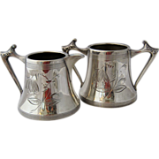 Sheffield Art Deco Silver Plated Sugar & Creamer Floral Pattern