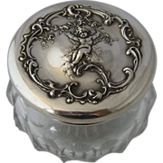 Shreve & Co Dresser Jar Sterling Cupid Repousse Top