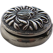 Shreve & Co Sterling Hinged Trinket Pill Box Repousse Chrysanthemum