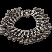 """Old Tribal Kuchi Silver Metal Bracelet w/ Bells 7 1/2"""""""