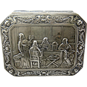 19th Century Silver over Copper Trinket Box Ornate Repousse Work