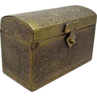 Vintage Small Trunk-Shaped Brass Box w/ Incised Work