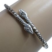 Hand Wrought Sterling Snakes Cross-Over Bracelet Bangle Signed