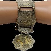 "Souvenir du Maroc Bracelet Arabian Nights Scenes mid 1900s 7 3/4"""
