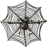 Sterling Silver Spider on Web Pin Brooch Ca 1980 MMA