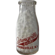 Ca 1950 Springville Dairy NY Cream Bottle 1/2 Pint