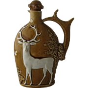 Schafer & Vater Figural Porcelain Nipper Flask w/ Deer Stag Relief