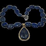"Vintage Stauer Lapis Teardrop Necklace Disc Beads Sterling Vermeil 19"""