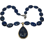 Vintage Stauer Lapis Teardrop Necklace Disc Beads Sterling Vermeil 19""