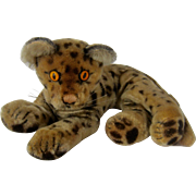 1950s Steiff Reclining Leopard Cheetah Mohair Yellow Eyes 9""