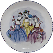 Ca 1950s Steinbock Austria Painted Enamel Bowl French Ladies Cobalt