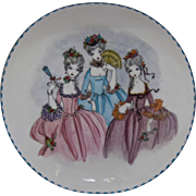 Ca 1950s Steinbock Austria Painted Enamel Bowl French Ladies Turquoise