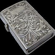 Ca 1960 Sterling 950 Silver Engraved Lighter Japan Works