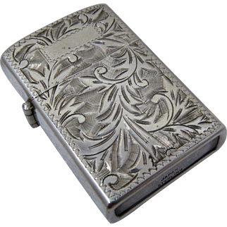 Ca 1960 Sterling 950 Silver Engraved Lighter Japan Works