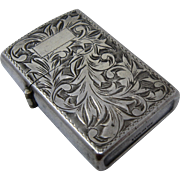 Ca 1960 Sterling 950 Silver Engraved Lighter Japanese Case Works