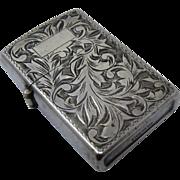 Ca 1960 Sterling 950 Silver Engraved Lighter Japanese Case Works