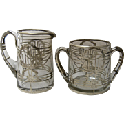 Sterling Overlay Glass Sugar Creamer 1930s