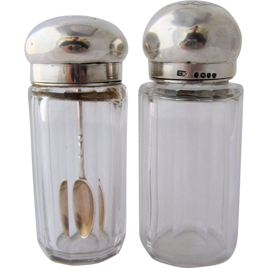 1886 Pair of Crystal Medicine or Dresser Jars w/ Sterling Tops Spoon