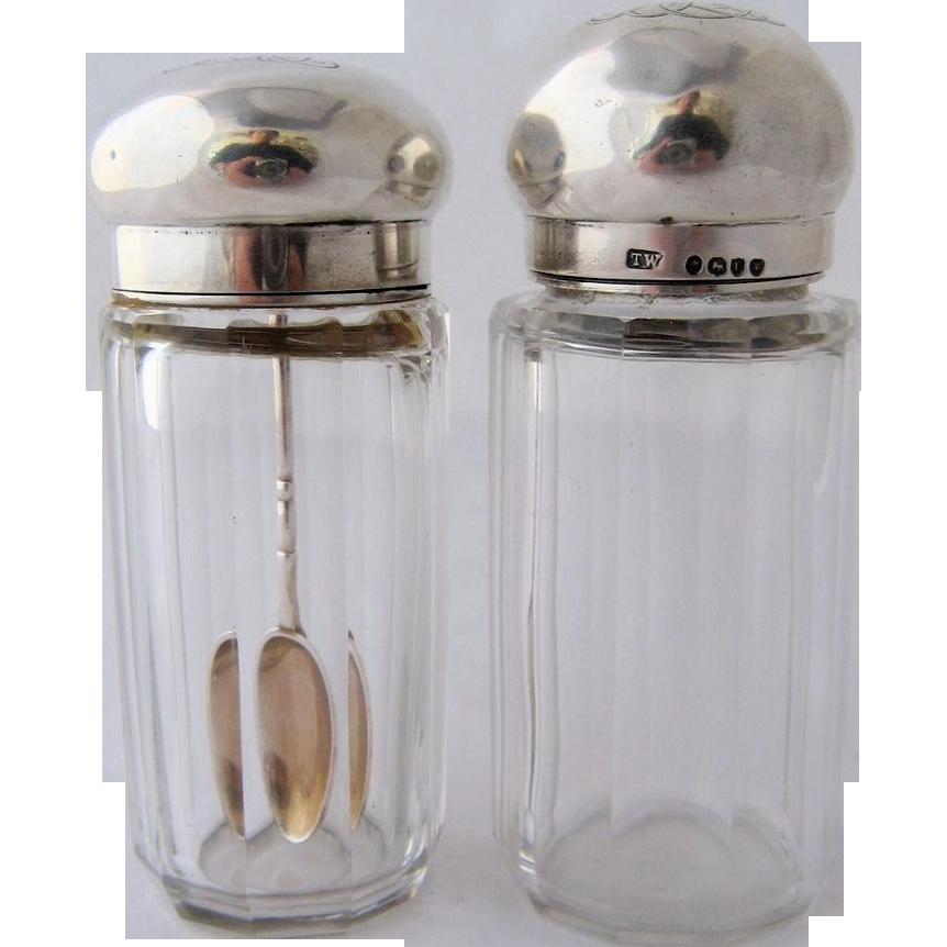 1886 Pair of Crystal Medicine or Dresser Jars w/ Sterling Tops Spoon