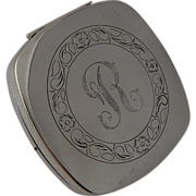 "Ca 1940s Heavy Sterling Compact Engraved ""R"""
