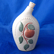 1960s Stoneware Flask w/Apple Watermill Decoration USA