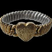1940s Expandable GF Bracelet Heart American Queen
