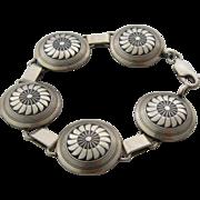 "The Silver Mesa Navajo Sterling Link Bracelet Mimbres Sunflower 6.5"""