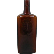 Pat. 1902 Louis Taussig San Francisco Whiskey Bottle Amber